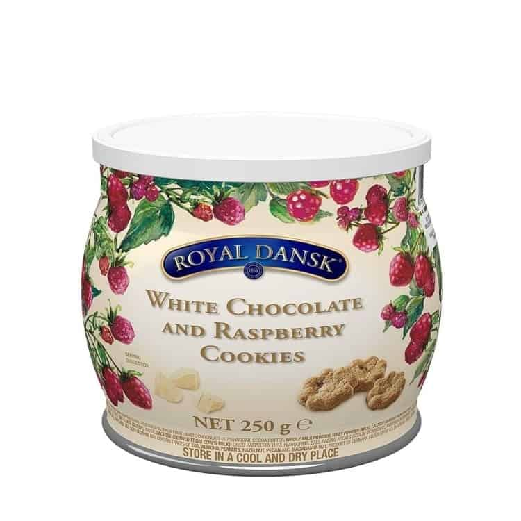 White Chocolate and Raspberry Cookies Royal Dansk